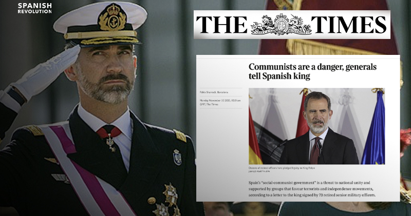 """The Times se hace eco de la carta del Ejército al Rey: """"Los comunistas son un peligro"""""""